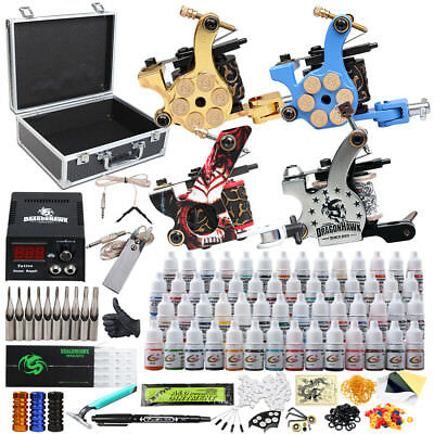 Tattoo Kit 4 Machines Gun 40 color Inks Power supply needles Grip Tip set D120VD