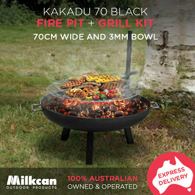 70cm Kakadu FIRE PIT BBQ GRILL Black Steel Outdoor Camping Fireplace Firepit