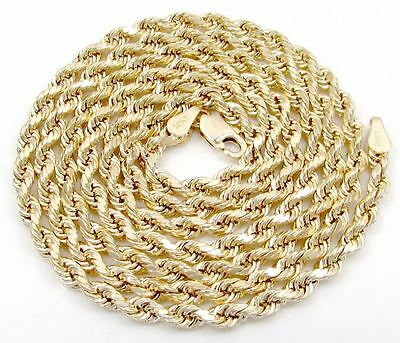"""10k yellow gold hollow 4mm diamond cut rope chain 18"""" - 30"""" inches"""