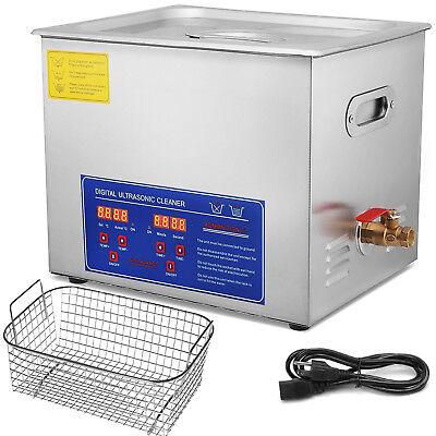Digital Stainless Ultrasonic Cleaner Ultra Sonic Bath Cleaning Timer Heating 10L
