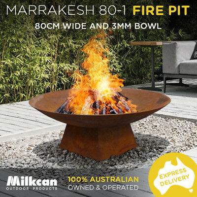 LARGE 3mm Thick RUST FIRE PIT 80cm MARRAKESH 80-1 Bowl GARDEN DESIGN  FIREPIT