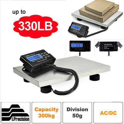 300KG 660lbs LCD AC Digital Floor Bench Scale Postal Platform Shipping/Pet Weigh