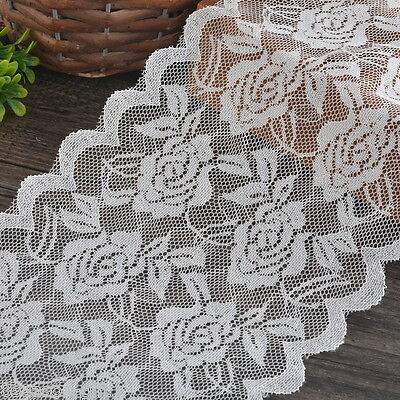 HX 5Yards 15cm White Elastic Lace Trim Ribbon Fabric DIY Decor Crafts Sewing