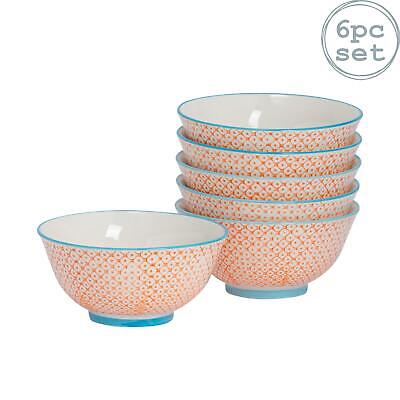 Patterned Cereal Bowls Breakfast Kitchen Porcelain Bowl Orange / Blue 152mm x6