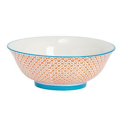 Porcelain Salad Bowl China Fruit Food Serving Tableware, Orange / Blue - 203mm