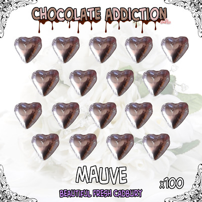 100 Mauve Milk Chocolate Hearts - Wedding Favours - Candy - Parties