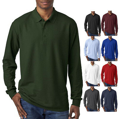 Gildan Mens Button Polo DryBlend Double Pique Long Sleeve Sport Shirt