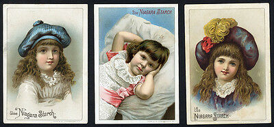 NIAGARA STARCH - 3 Trade Cards c. 1880s with Pretty Little Girls