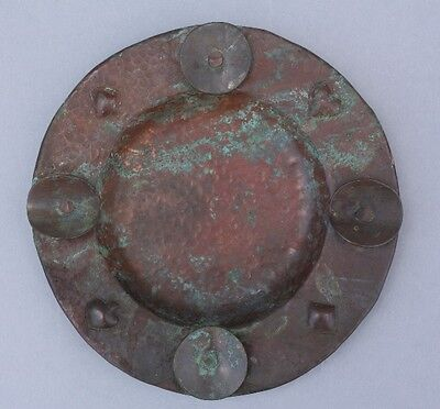 Early 1900s Hammered Copper Antique Cigar Ashtray Playing Card Motif (9063)