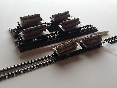 Ulrich N Scale Old Time Flat Cars With Real Logs Set Of 6