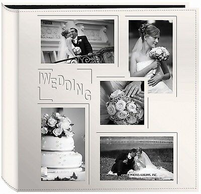 """Pioneer Collage Frame Embossed """"Wedding"""" Sewn Leatherette Cover Photo Album, ..."""