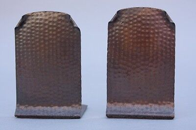 1910 Arts & Crafts Hammered Copper Bookends Craftsman Studios Los Angeles (9065)