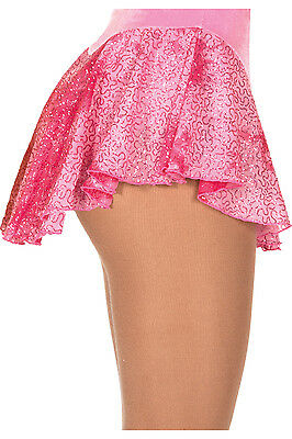 New Figure Skating Dress Skirt Jerry's Pink Glitter Mesh Youth 8-10 CM