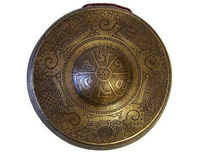 """TIBETAN GONG _ ETCHED BUDDHIST TEMPLE BELL 11"""" _ Sound #01"""