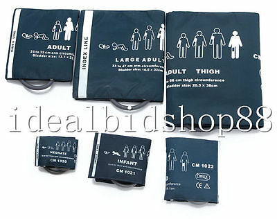 6 Pcs Blood Pressure Cuff for Patient Monitor ECG EKG Machine System All Size