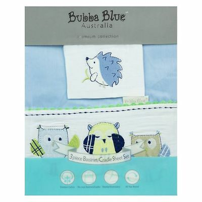 NEW Bubba Blue Baby Owl Blue Bassinet Sheet (Set of 3)