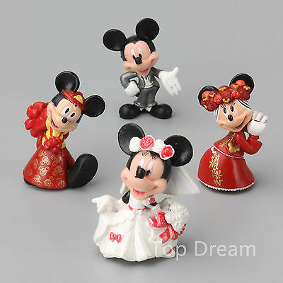 Cute Mickey & Minnie Mouse Wedding Cake Topper Figure Toys 4pcs Gift