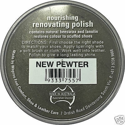 NEW PEWTER Shoe Polish Cream Restore Colour to Leather SHOES / BOOTS /  WAPROO