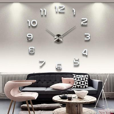 Largo Lujo Reloj De Pared Adhesivo Decoración Moderno 3D Espejo DIY Wall Clock