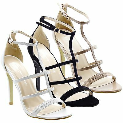 Ladies Womens Stiletto Strappy High Heel Ankle Strap Cuff Peep Toe Sandals Shoes