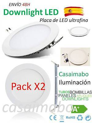 Pack 2Downlight LED SLIM Redondo Extraplano 20W,Interior,Luz fría Techo 1500LM