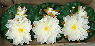 Pack of 3 Large Floating Silk Pond Lilies with frogs