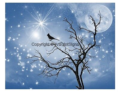 Blue Black White Home Decor Bird Silhouette Tree Sky Wall Art Photo Print w Mat