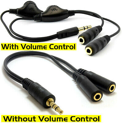 3.5mm Stereo Audio Male to 2 Female AUX Headphone Mic Y Splitter Cable Adapter