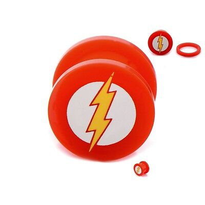 The Flash Screw Fit Acrylic Ear Plugs Gauges 0G Licensed DC Body Jewelry