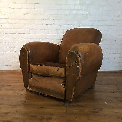Vtg Antique 1930s 20s 40s Art Deco French Leather Club Chair Armchair Lounge Bar