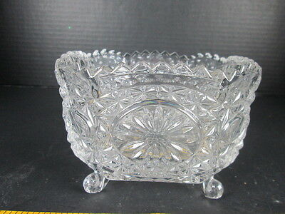 "Crystal Candy Dish Bird & Flower Design Footed Glass 5"" Shabby Chic Vintage T"