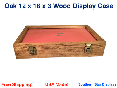 Oak Wood Display Case 12 x 18 x 3 for Arrowheads Knifes Collectibles & More