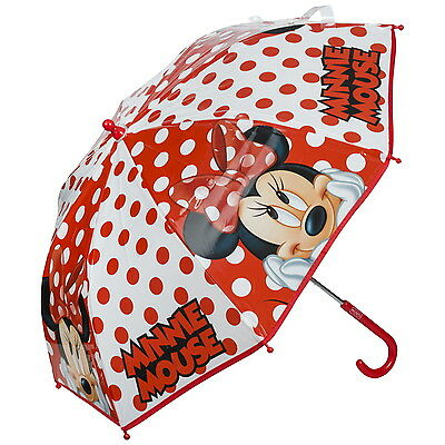 NEW OFFICIAL Minnie Mouse Disney Girls Kids Classic Bubble Dome Umbrella Brolly