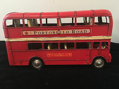 "Vintage Metal- Red Double Decker Bus ""portobello Road"" Nottinghill Gate"