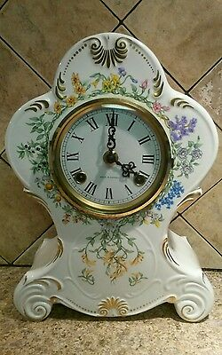 1982 Clock Ceramic Mantle/Shelf-French Horticultural Society Award German Hermle