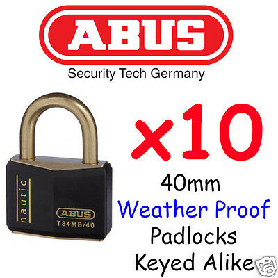 ABUS 40mm Marine Outdoor Padlocks x10  KEYED ALIKE BULK LOT High quality