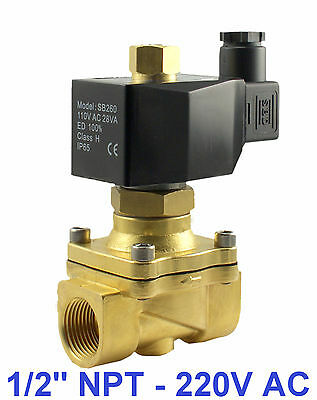 "1/2"" Inch Normally Open Brass Air Gas Water Electric Solenoid Valve 220V AC NBR"