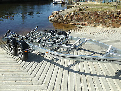 Savage Trailers Deluxe Roller Tandem Boat Trailer -Suit F/glass Boats Up To 6.2M