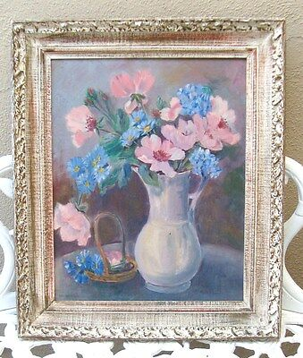 Vtg Ornate Washed Chic French Cottage Shabby Gesso Picture Frame ROSES PAINTING