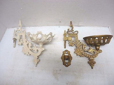 2 Vintage Cast Iron Oil Lamp Candle Holders Wall Sconces With Mounting Bracket