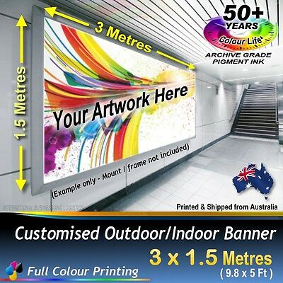 3M X 1.5M Custom Personalised Outdoor Banner Business Wall Sign Poster Flag