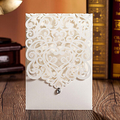 Laser Cut Wedding Evening Invitations Cards Free Personalized Envelopes Seals