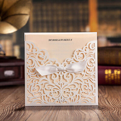 Personalised White Lace Laser Cut Wedding Invitation Cards Free Envelopes Seals
