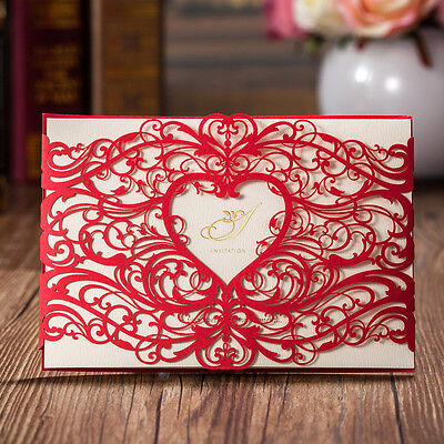 Personalised Red Laser Cut Heart Wedding Invitation Cards, Envelopes, Stickers