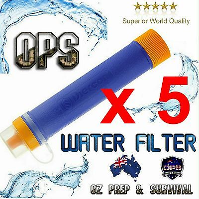 5 x OPS Survival Water Filter Straw Purifier Camping Hiking Emergency