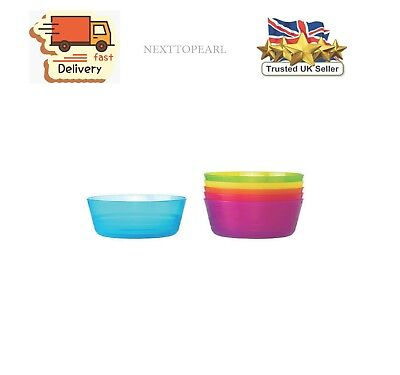 Plastic Bowls Diameter 11 cm Microwave Safe Assorted Colours Pack of 6 ,NEW