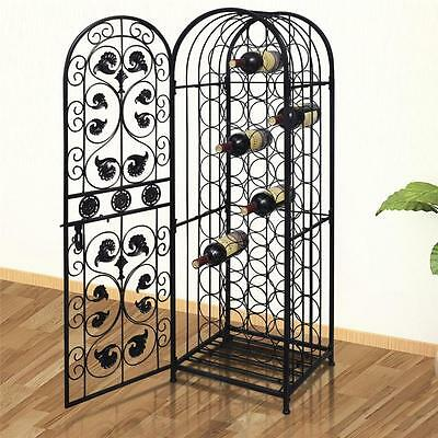 Elegant Metal Wine Home Bar Cabinet Storage Rack Floor Stand - Holds 45 Bottles