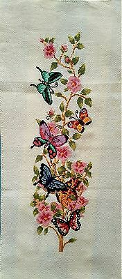 "Completed finished cross stitch handmade cross stitch""BUTTERFLY FLOWERS""decor"