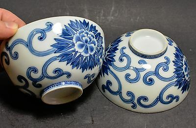 Antique Japanese Porcelain Bowl (2) Blue and White Rice Bowls