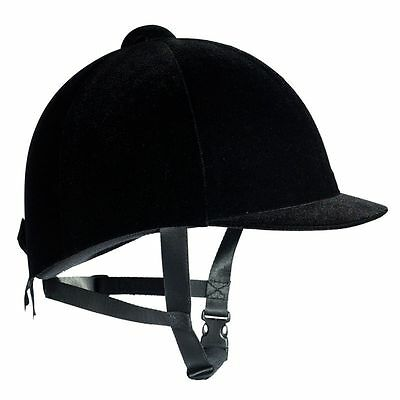 HORZE VELVET HORSE RIDING HAT /HELMET BLACK - All Sizes